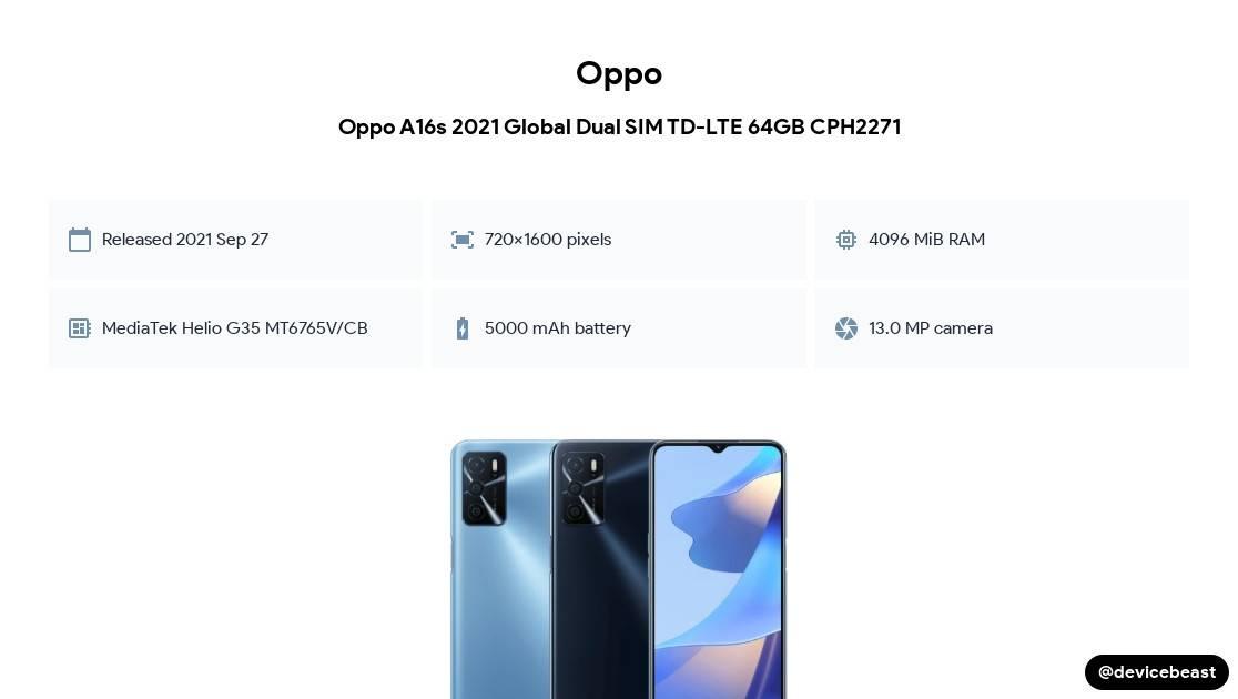 Oppo A16s 2021 Global Dual SIM TD-LTE 64GB CPH2271 cover
